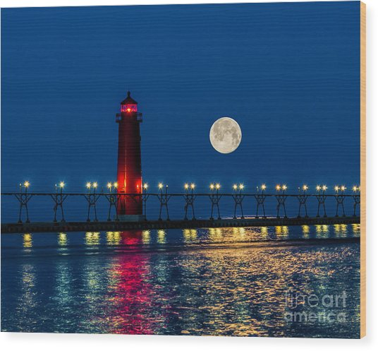 Moon Over Grand Haven Wood Print