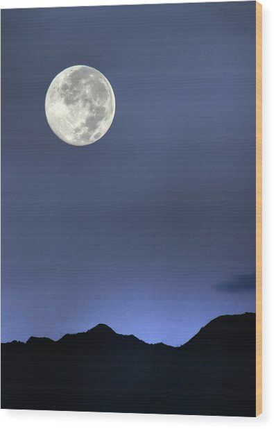Moon Over Ko'olau Wood Print