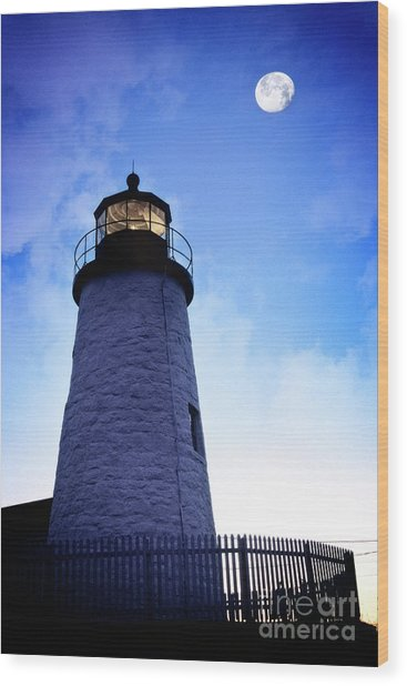 Moon Over Lighthouse Wood Print