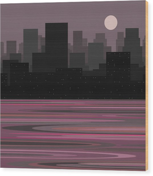 Moon Over Manhattan - A Different View Wood Print