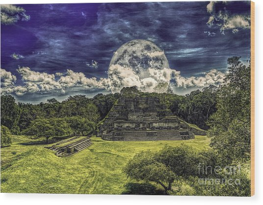 Moon Over Mayan Temple Two Wood Print