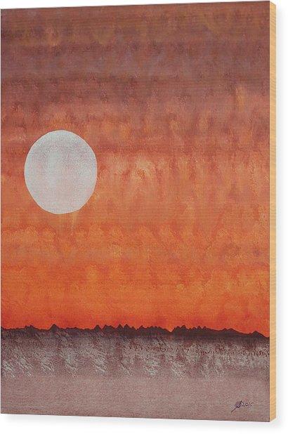 Moon Over Mojave Wood Print