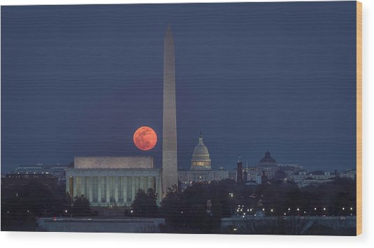 Moon Over Monuments Wood Print by Michael Donahue