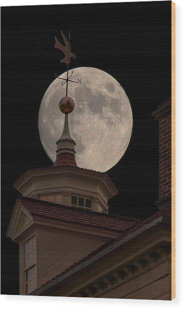 Moon Over Mount Vernon Wood Print