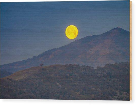 Moon Over Mt Diablo Wood Print