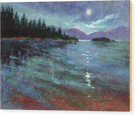 Moon Over Pend Orielle Wood Print