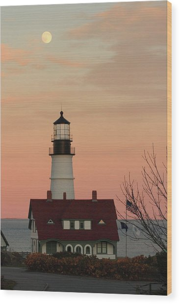 Moon Over Portland Head Lighthouse Wood Print
