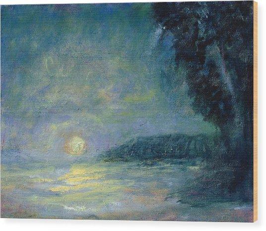 Moon Over Pt Dume Wood Print