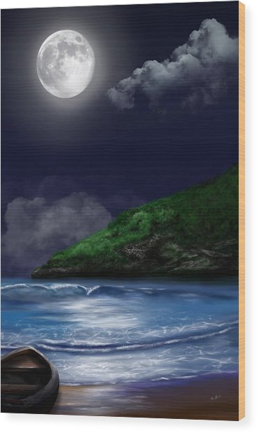 Moon Over The Cove Wood Print