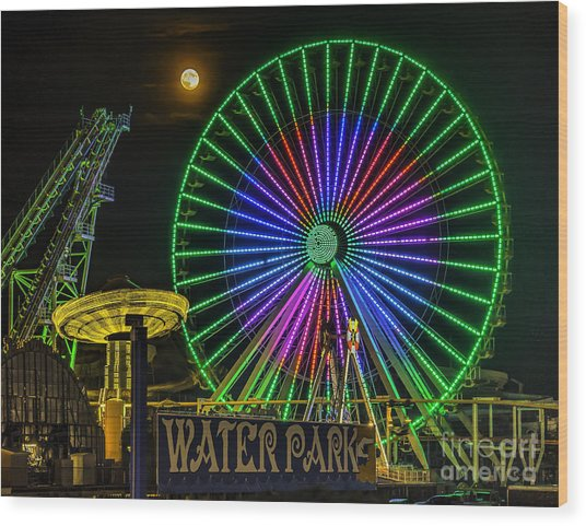 Moon Over The Ferris Wheel Wood Print