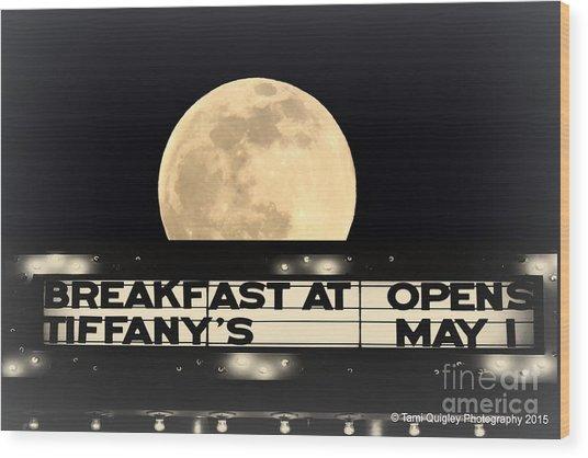Moon Over Tiffany's Wood Print