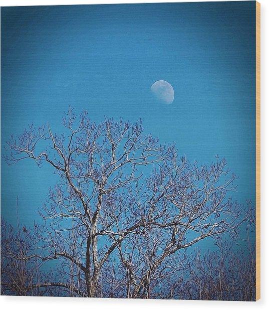 Moon Over Tree Wood Print