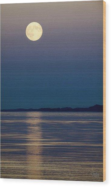 Moon Over Water Wood Print