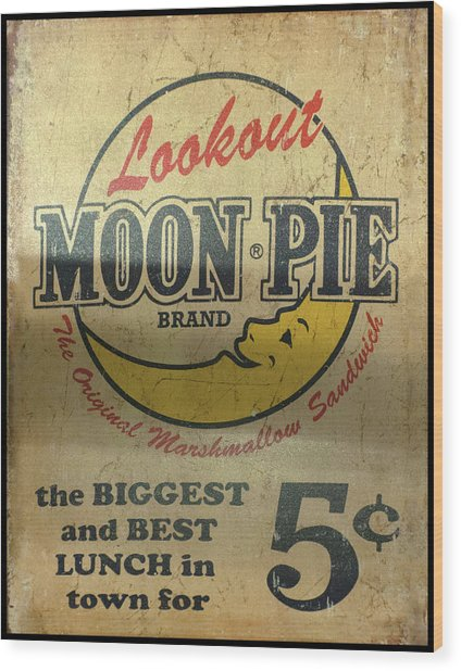 Moon Pie Antique Sign Wood Print