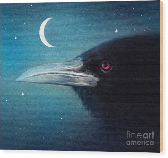 Moon Raven Wood Print by Robert Foster