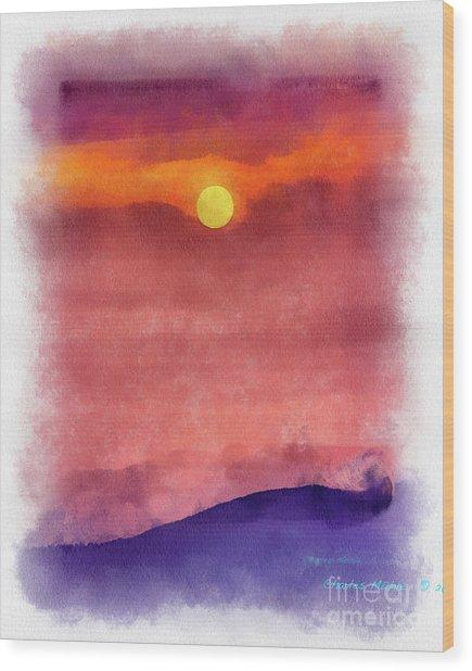 Moon Rise In Aquarelle Wood Print