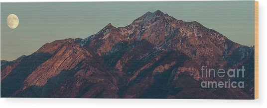 Wood Print featuring the photograph Moon Rising Near Twin Peaks by Spencer Baugh
