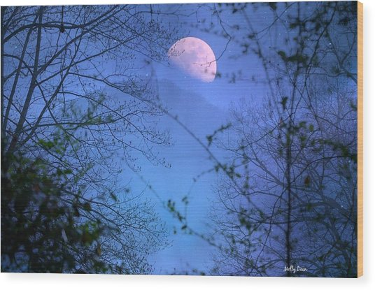 Moon Rising Over Mountain Wood Print by Molly Dean