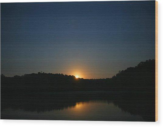 Moon Rising Over The Lake Wood Print by James Jones
