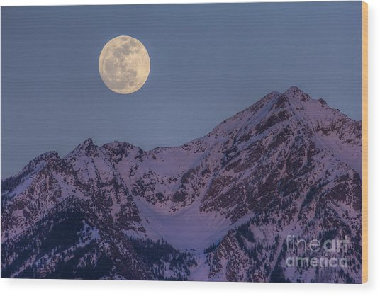 Moon Rising Over Twin Peaks Wood Print