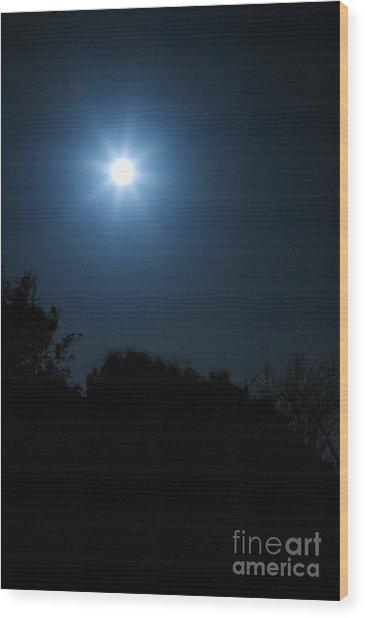 Moon Star Wood Print by Hideaki Sakurai