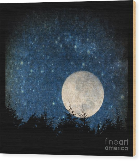 Moon, Tree And Stars Wood Print