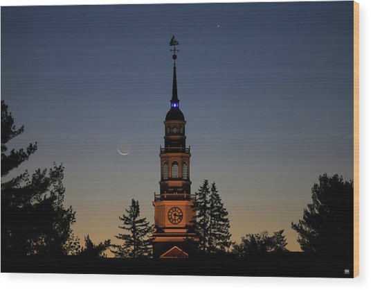 Moon, Venus, And Miller Tower Wood Print