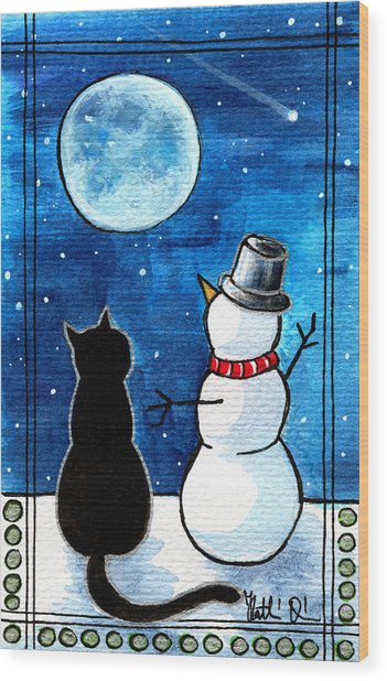 Moon Watching With Snowman - Christmas Cat Wood Print