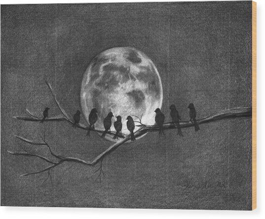 Moonbirds Wood Print