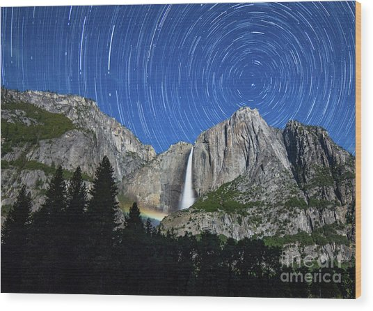 Moonbow And Startrails  Wood Print