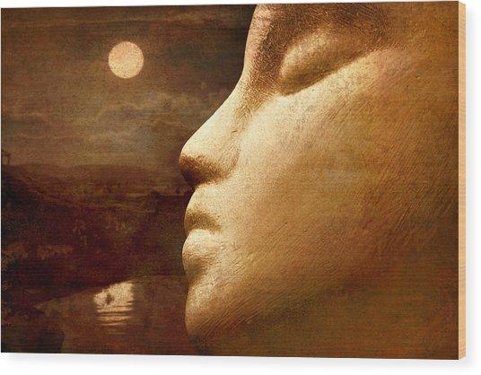 Moonface Wood Print