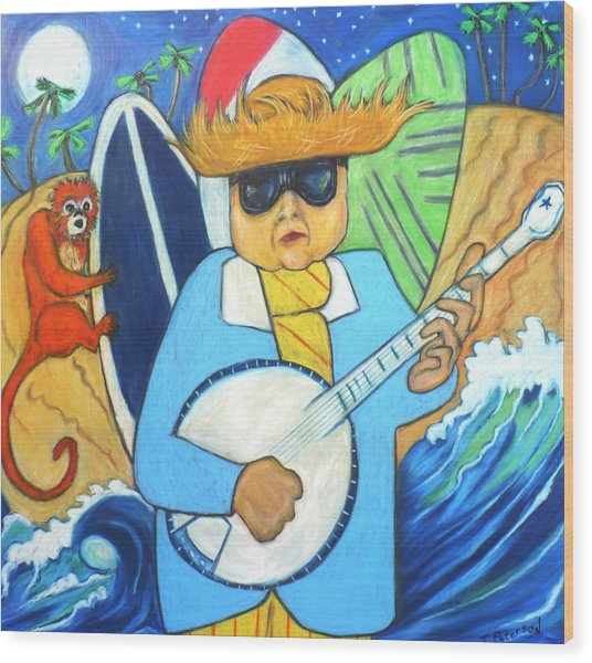 Moonlight Banjo Surfmonkey Wood Print