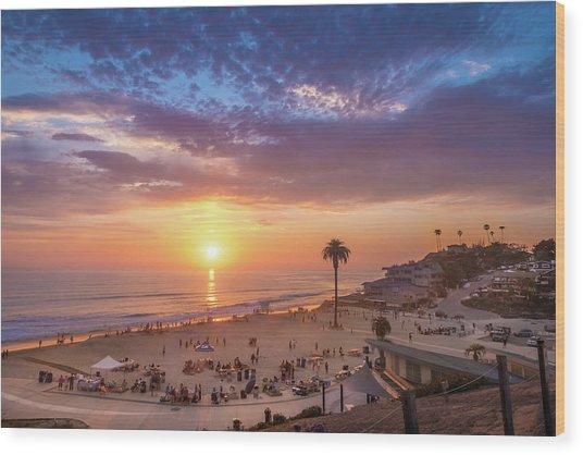Moonlight Beach Sunset Wood Print