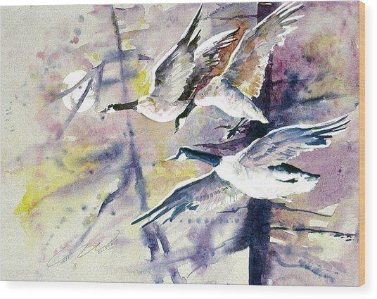 Moonlight Canadian Geese Wood Print
