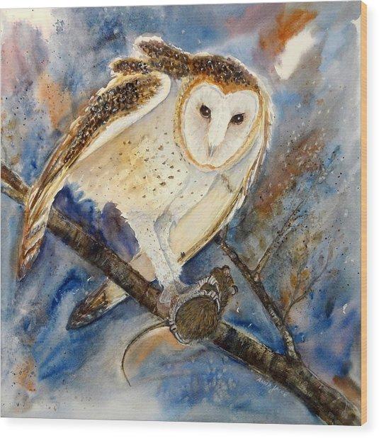 Moonlight Feast - Barn Owl Wood Print