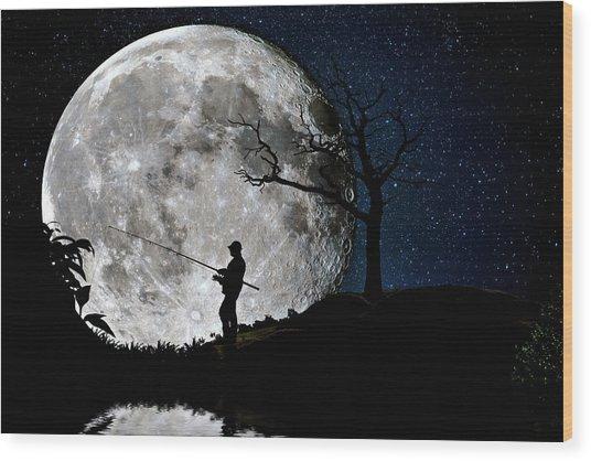 Moonlight Fishing Under The Supermoon At Night Wood Print