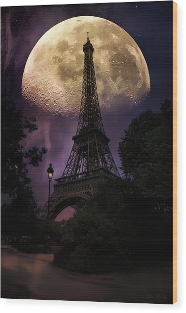 Moonlight In Paris Wood Print