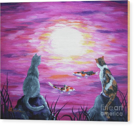 Moonlight On Pink Water Wood Print by Laura Iverson