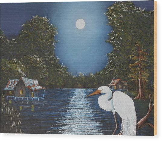 Moonlight On The Bayou Wood Print