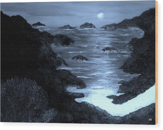 Moonlight On The Coast Wood Print by Sherri's - Of Palm Springs