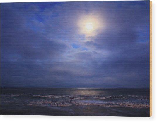 Moonlight On The Ocean At Hatteras Wood Print
