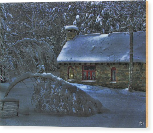 Moonlight On The Stonehouse Wood Print