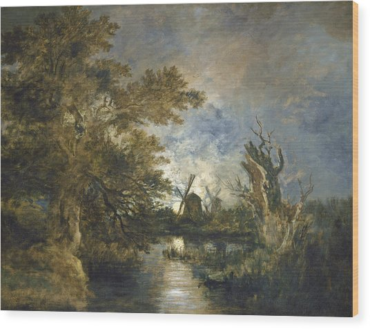 Moonlight On The Yare Wood Print