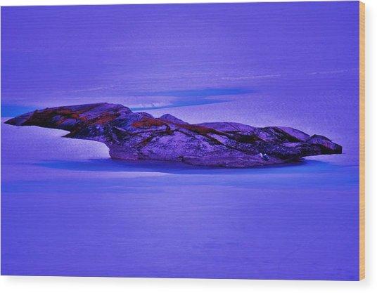 Moonlight On Tundra Ice Wood Print by Helen Carson