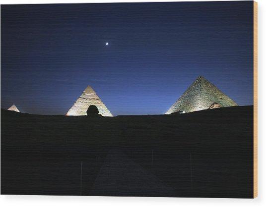 Moonlight Over 3 Pyramids Wood Print
