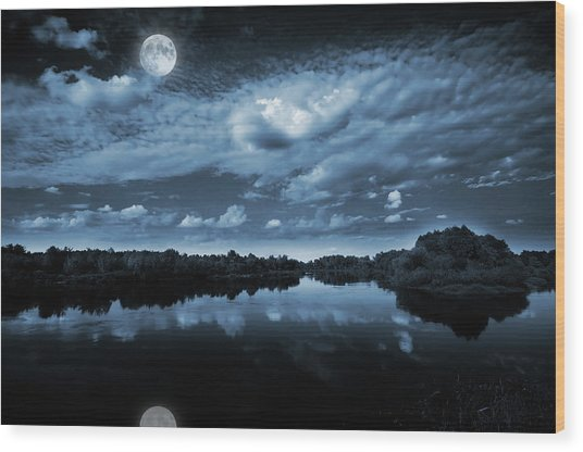 Moonlight Over A Lake Wood Print