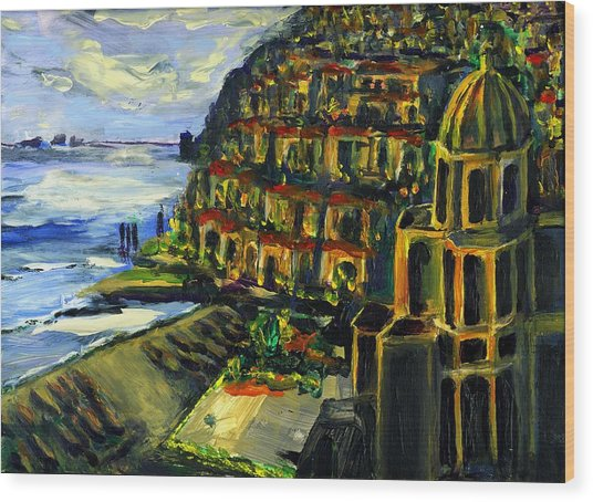 Moonlight Over Positano Wood Print