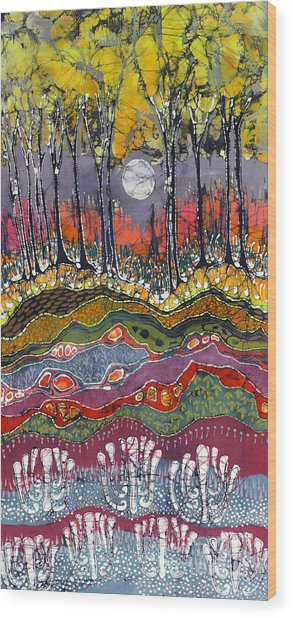 Moonlight Over Spring Wood Print