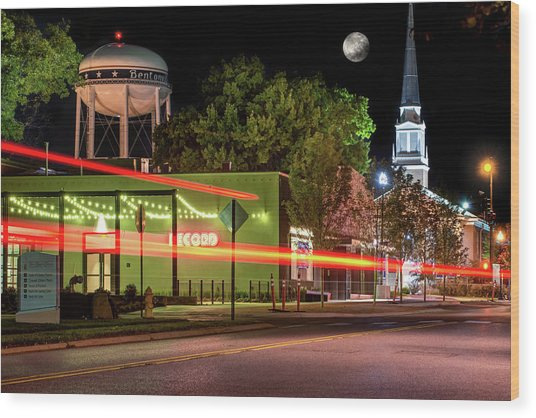 Moonlight Over The Bentonville Record And Water Tower Wood Print