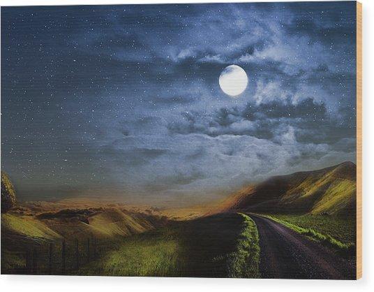 Moonlight Path Wood Print